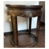 Brown and Gold Oriental Side Table