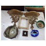 Pair of Wood Wall Sconces & Miscellaneous