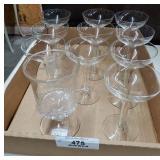 10 Hollow Stem Champagnes, Vintage Glass Spooner