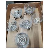 6 Glass Sherbets w/5 Brass Bases