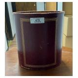 Red Leather Oval Waste Paper Can