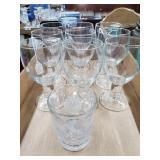 9 Glass Goblets, 1 Cut Glass Tumbler