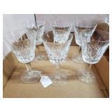 6 Waterford Stemmed Wine Glasses