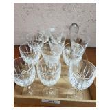 11 Stemmed Glasses & Crystal Candlestick Bottom