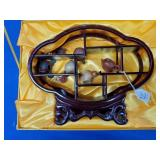 Oriental China Teapots w/Rosewood Display Stand