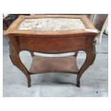 Marble Top End Table w/Brass Trim