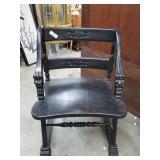 Black Half Arm Chair w/Carving