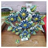 Ornate Pottery Floral Candle Holder