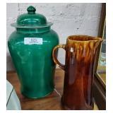 Large Oriental Cover Jar & Tall Ceramic Pitcher