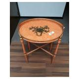 Pair Toile Side Tables w/ Metal Bases