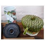 Vintage Oriental Floral Decorated Cylinder Vase