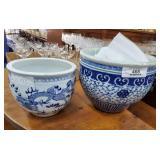 2 Blue & White Porcelain Jardinières