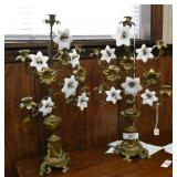 Pair of French Brass Floral Candelabra