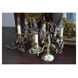 Pair Candlestick Lamps w/ Prisms