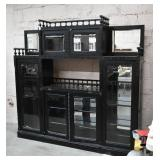 Black China Cabinet w/ Beveled Glass Doors