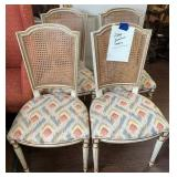 4- Karges Rattan Upholstered Dining Chair