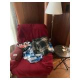 Recliner, Lamp, and 2 Small Folding Tables