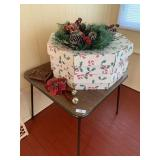 Folding Card Table, Wreaths, and Miscellaneous