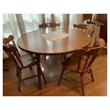 Round Tell City Drop-Leaf Table & 4 Chairs
