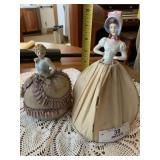 Two China Head Pin Cushion Dolls