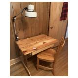 Pine Desk, Chair, and Light