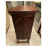 Footed Jewelry Cabinet & Contents