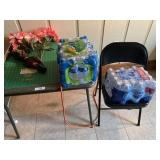Card Table, Folding Chair, and Water