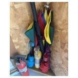Umbrellas, Gardening Tools, & Fire Extinguisher