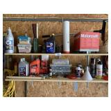 Two Shelves of Garage Miscellaneous Items