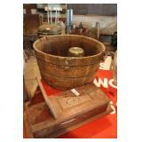 Half Barrel Tub w/Handles & Misc.