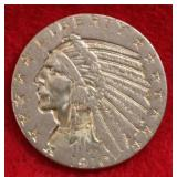 1910 Gold Indian Head $5.00 US Coin