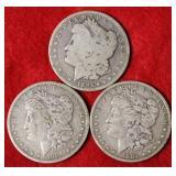 3 Silver Morgan Dollar Coins