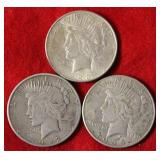 3 Silver Peace Dollars