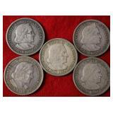 5 Silver Columbian Exposition Half Dollar Coins
