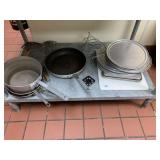 Lot of Skillets, Pans, Trays, Cutting Boards & Mis