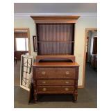 3-Drawer Cherry Desk W/ Glass Door Cabinet Top