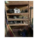 Misc. Contents On Wooden Shelves