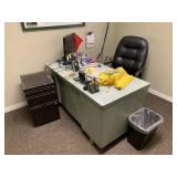 Desk, Chair, 2 Filing Cabinets, & Misc.