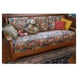 Vintage Oak Floral Sofa