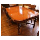Vintage Dining Table & 6 Press Back Chairs