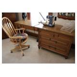 White Sewing Machine, Desk & Supplies
