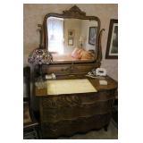 Antique Dresser W/Beveled Mirror