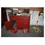 Tool Cabinet W/Vise & Misc.