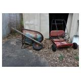 Go Kart, Wheel Barrow & Contents of Small Shed