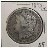 1893-CC Silver Morgan Dollar