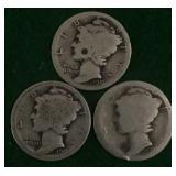 3- 1916 Mercury Dimes, Very Worn Dates