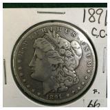 1891-CC Silver Morgan Dollar