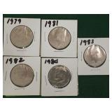 5- Kennedy Half Dollars, Clad