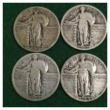4- Silver Standing Liberty Quarters