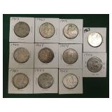 11- Silver Franklin Half Dollars